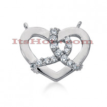 14k Gold Round Diamond Heart Pendant 0.42ct