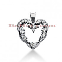 14k Gold Round Diamond Heart Pendant 0.43ct