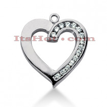 14k Gold Round Diamond Heart Pendant 0.45ct