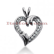 14k Gold Round Diamond Heart Pendant 0.46ct