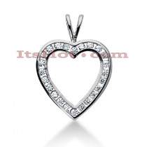 14k Gold Round Diamond Heart Pendant 0.48ct