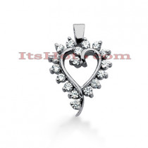 14k Gold Round Diamond Heart Pendant 0.51ct