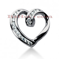 14k Gold Round Diamond Heart Pendant 0.58ct