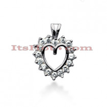 14k Gold Round Diamond Heart Pendant 0.64ct