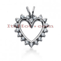14k Gold Round Diamond Heart Pendant 0.72ct