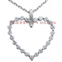 14k Gold Round Diamond Heart Pendant 0.78ct