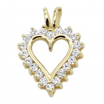 14k Gold Round Diamond Heart Pendant 0.80ct