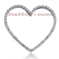 14k Gold Round Diamond Heart Pendant 0.81ct