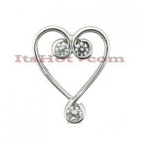 14k Gold Round Diamond Heart Pendant 0.90ct
