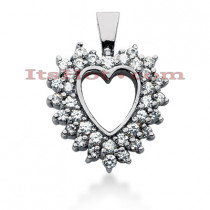 14k Gold Round Diamond Heart Pendant 1.23ct