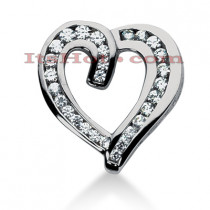 14k Gold Round Diamond Heart Pendant 1.35ct