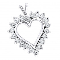 14k Gold Round Diamond Heart Pendant 1.4ct