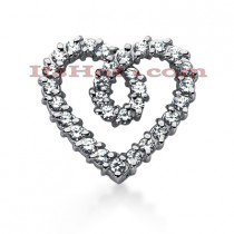 14k Gold Round Diamond Heart Pendant 2.17ct