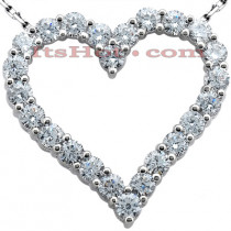 14k Gold Round Diamond Heart Pendant 6ct