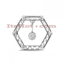 14K Gold Round Diamond Hexagon Pendant 0.15ct