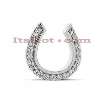 14K Gold Round Diamond Horseshoe Pendant 0.38ct
