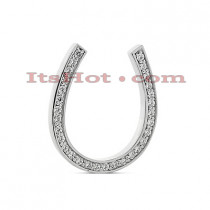 14K Gold Round Diamond Horseshoe Pendant 0.45ct
