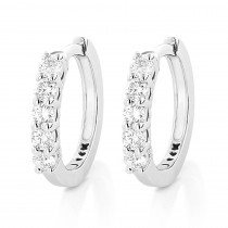 14K Gold Round Diamond Huggie Earrings Hoops 0.33ct