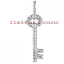 14K Gold Round Diamond Key Pendant 0.30ct