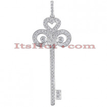 14K Gold Round diamond Key Pendant 0.87ct