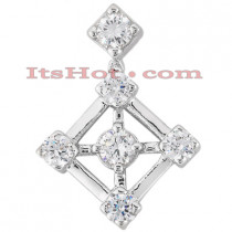 14K Gold Round Diamond Kite Pendant 0.40ct