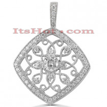 14K Gold Round Diamond Kite Pendant 0.71ct