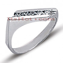 Thin 14K Gold Round Diamond Ladies Ring 0.40ct