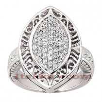 14K Gold Round Diamond Ladies Ring 0.79ct