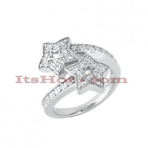 Thin 14K Gold Round Diamond Ladies Ring 0.85ct
