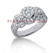 Thin 14K Gold Round Diamond Ladies Ring 0.86ct