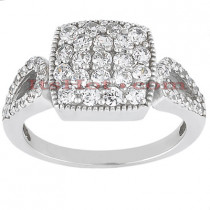 14K Gold Round Diamond Ladies Ring 0.91ct