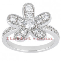 Thin 14K Gold Round Diamond Ladies Ring 1.38ct
