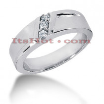 14K Gold Round Diamond Mens Wedding Ring 0.15ct