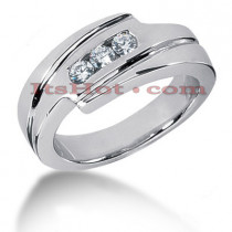 14K Gold Round Diamond Mens Wedding Ring 0.30ct