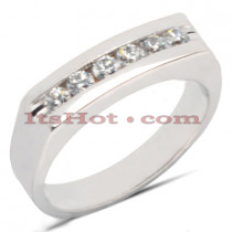 14K Gold Round Diamond Men's Wedding Ring 0.42ct