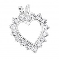 14K Gold  Round Diamond Open Heart Pendant for Women 1.9ct
