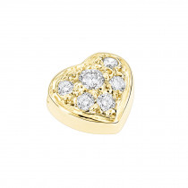 Small 14k Gold Round Diamond Pave Heart Pendant 0.16ct
