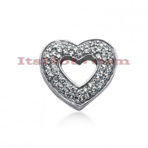 14k Gold Round Diamond Pave Heart Pendant 0.68ct