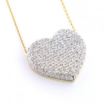14k Gold Round Diamond Pave Heart Pendant 1.21ct