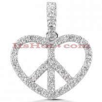 14k Gold Round Diamond Peace Sign Heart Pendant 0.63ct