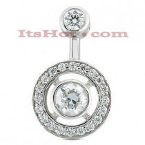 14K Gold Round Diamond Pendulum Pendant 0.38ct
