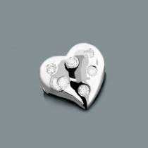 14k Gold Round Diamond Puffed Heart Pendant 0.12ct
