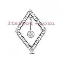 14K Gold Round Diamond Rhombus Pendant 0.20ct