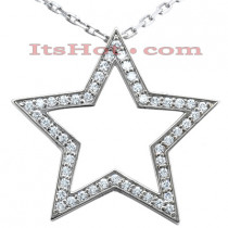 14K Gold Round Diamond Star Pendant 0.50ct