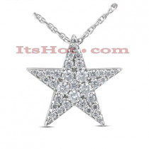14K Gold Round Diamond Star Pendant 0.70ct