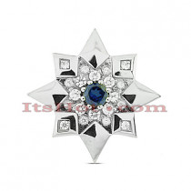 14K Gold Round Diamond Star Pendant 1.38ct