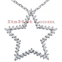 14K Gold Round Diamond Star Pendant 1ct