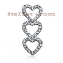 14k Gold Round Diamond Triple Heart Pendant 0.36ct