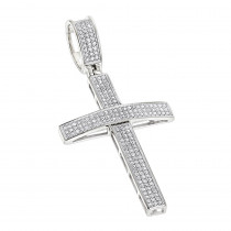14K Gold Round Pave Diamond Cross Pendant 0.5ct