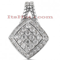 14K Gold Round Pave Diamond Pendant 1.44ct